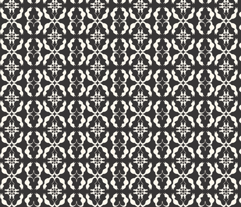 Cats at the Mirror creme_black fabric by colour_angel_by_kv on Spoonflower - custom fabric