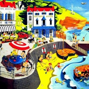 vintage kids scenery seaside beach town hotels tourists children cars dogs cliffs tents camping sea ocean fishing sailing yacht canoeing sand boats