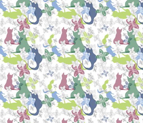 Catmint Play white grey fabric by colour_angel_by_kv on Spoonflower - custom fabric