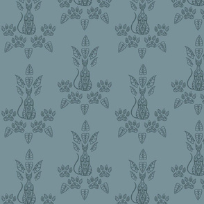 Blue Cat Damask