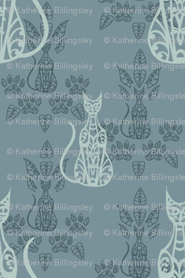 Blue Cat Damask 2