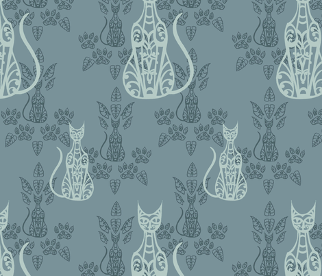 Blue Cat Damask 2 fabric by katebillingsley on Spoonflower - custom fabric