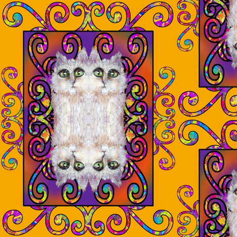 CAT DAMASK SUNNY YELLOW fabric by paysmage on Spoonflower - custom fabric