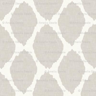 Oval Ikat in Warm Gray Linen