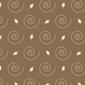 Brown and Beige Fall Leaves and Spirals Pattern