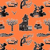 Spooky Black and Orange Halloween Toile