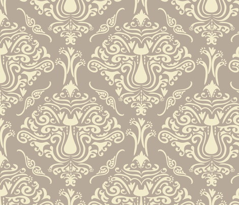 Cat Damask fabric by jill_o_connor on Spoonflower - custom fabric