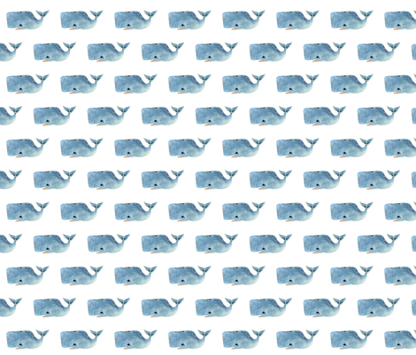 Smaller Blue Whale fabric by taraput on Spoonflower - custom fabric