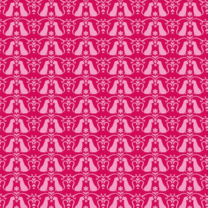 Cat Damask Pink Reversed