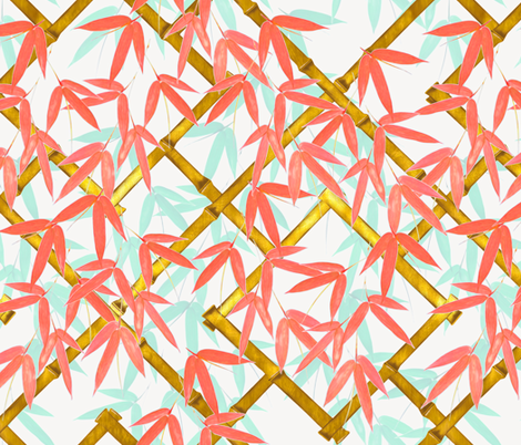 Nantes Bamboo Trellis / Coral and Mint fabric by willowlanetextiles on Spoonflower - custom fabric