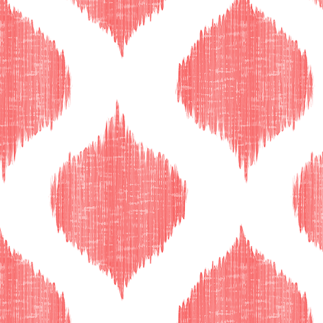 Lela Ikat in Coral  fabric by willowlanetextiles on Spoonflower - custom fabric