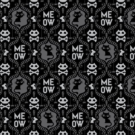 Damask Cat-ttern  fabric by laura_mayes on Spoonflower - custom fabric