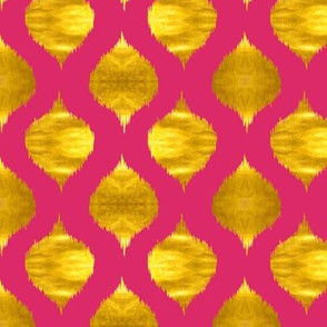 Lela Ikat in Fuchsia and Gold Luster