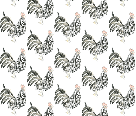 Zebra Rooster fabric by jaeger on Spoonflower - custom fabric