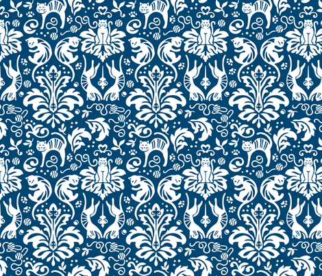 Damask Cats - BLUE fabric - aliceio - Spoonflower