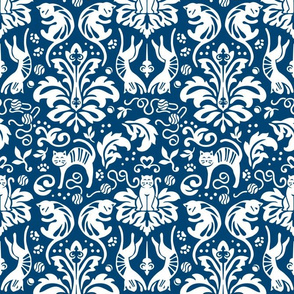 Damask Cats - BLUE