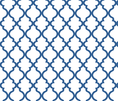 Quatrefoil - Cobalt on White fabric by joyfulrose on Spoonflower - custom fabric