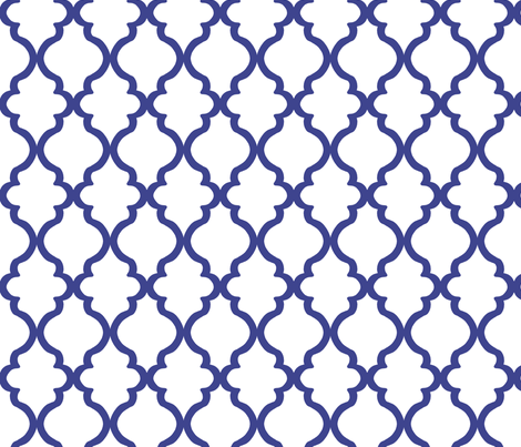 Quatrefoil - Royal Blue on White fabric by joyfulrose on Spoonflower - custom fabric