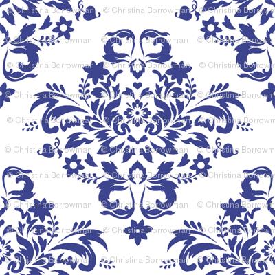Damask - Royal Blue