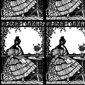 vintage silhouette shadows outlines medieval Victorian lady garden vines reading books flowers vase tables gothic lolita frames renaissance
