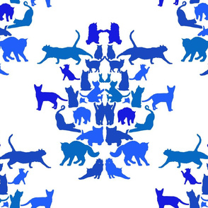 Cat Damask in Blue