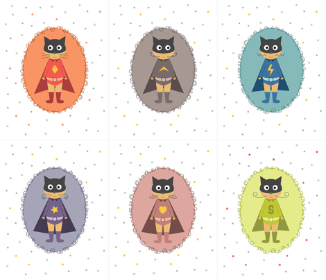 Supers chats héros panneau fabric by la_fabriken on Spoonflower - custom fabric