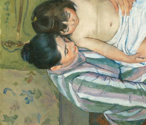 Cassatt - The Child's Bath (1893) fabric by studiofibonacci on Spoonflower - custom fabric