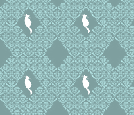 Kitty Back Aqua Teal Damask fabric by 13moons_design on Spoonflower - custom fabric