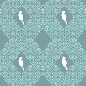 Kitty Back Aqua Teal Damask
