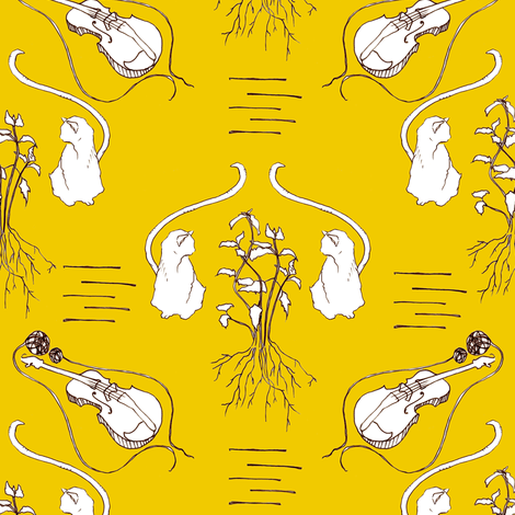 Never Trust A Cat That Fiddles in Yellow fabric by sparegus on Spoonflower - custom fabric