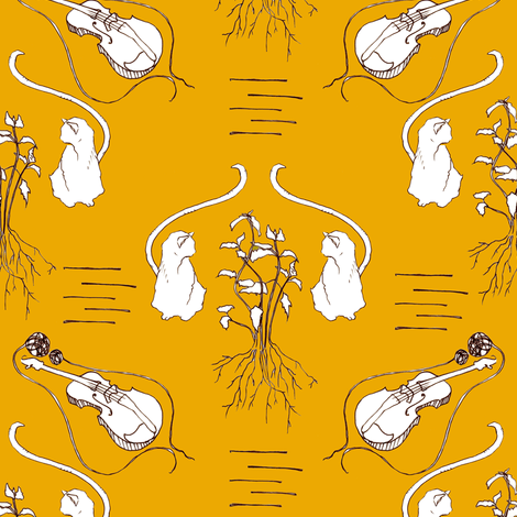 Never Trust A Cat That Fiddles in Orange fabric by sparegus on Spoonflower - custom fabric