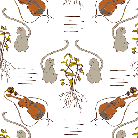 Never Trust A Cat That Fiddles fabric by sparegus on Spoonflower - custom fabric