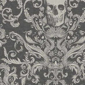 Dread Damask in Charcoal Linen