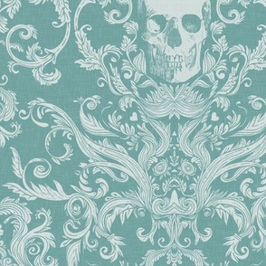 Dread Damask in Aqua Linen