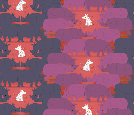 white rhino, red fabric by sanneteloo on Spoonflower - custom fabric