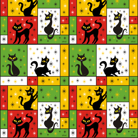 Composition with 5 Black Cats in Holiday Gift Wrap fabric by 3catsgraphics on Spoonflower - custom fabric