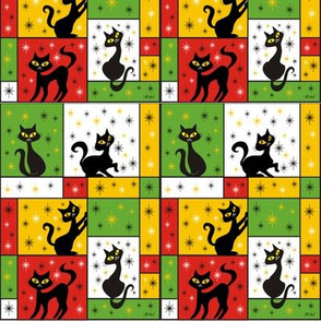 Composition with 5 Black Cats in Holiday Gift Wrap