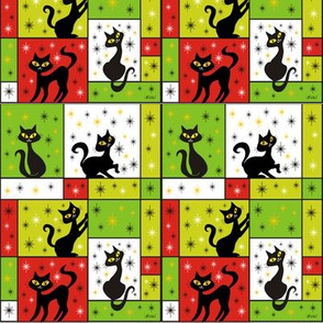 Composition with 5 Black Cats in a Holiday Celebration Theme