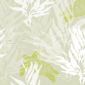 Sea Turtles and Kelp on Soft Green