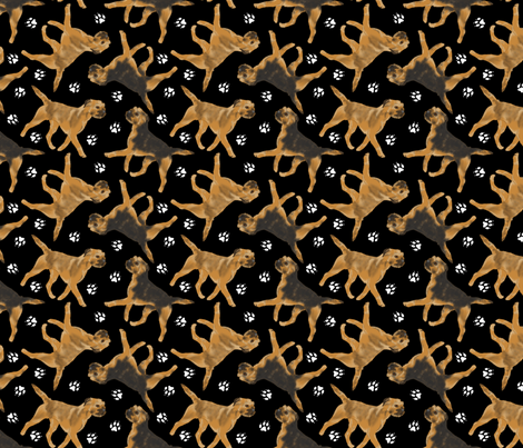 Trotting Border Terriers and paw prints - black fabric by rusticcorgi on Spoonflower - custom fabric