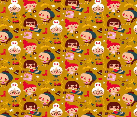 fashion girls mustard fabric by bora on Spoonflower - custom fabric
