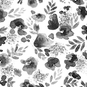 Floret FLoral Pattern in Black and White