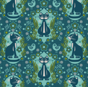 cat damask blue
