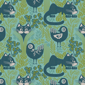 herbs cats and birds blue