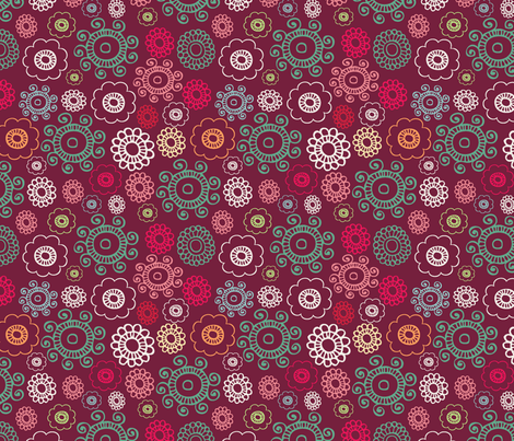 Retro Christmas Floral fabric by asouthernladysdesigns on Spoonflower - custom fabric