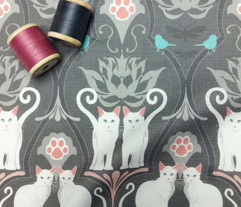White Cat Damask