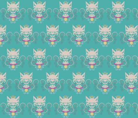le chat blue fabric by pamela_hamilton on Spoonflower - custom fabric