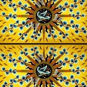 vintage retro folk art tribal northwest southwest stars vines plants doves birds leaves butterfly butterflies