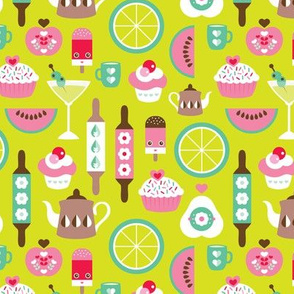 Retro kitchen food and bakery birthday party illustration print