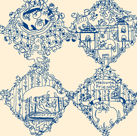 Welcome Friends Damask fabric by kimruss@thatcatart on Spoonflower - custom fabric